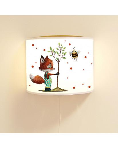 Wandlampe Kinderlampe mit süßen Fuchs mit Baum & Biene Lampe Motivlampe Leselampe Kinderzimmer ls124