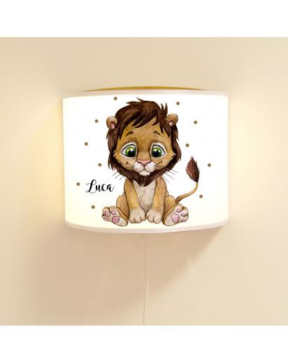 Wandlampe Kinderlampe mit süßen Löwe Löwenjunge & Punkte Lampe Motivlampe Leselampe Kinderzimmer mit Name Wunschname ls125
