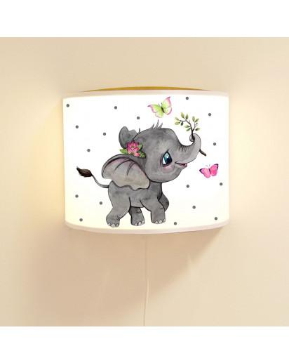 Wandlampe Kinderlampe mit süßen Elefant Schmetterlinge & Punkte Lampe Motivlampe Leselampe Kinderzimmer ls126