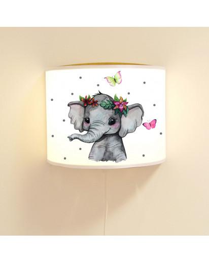 Wandlampe Kinderlampe mit süßen Elefant indisch Schmetterlinge & Punkte Lampe Motivlampe Leselampe Kinderzimmer ls127