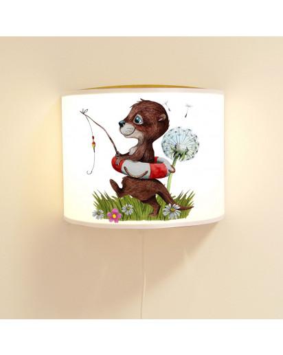 Wandlampe Kinderlampe mit Otter angelt Schwimmring Pusteblume Lampe Motivlampe Leselampe Kinderzimmer ls128