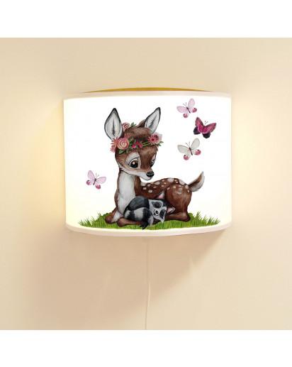 Wandlampe Kinderlampe mit süßen Reh & Waschbär mit Schmetterlinge Lampe Motivlampe Leselampe Kinderzimmer ls129