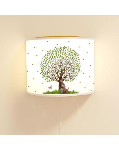 Wandlampe Kinderlampe mit süßen Hasen Häschen unterm großen Baum Lampe Motivlampe Leselampe Kinderzimmer ls130