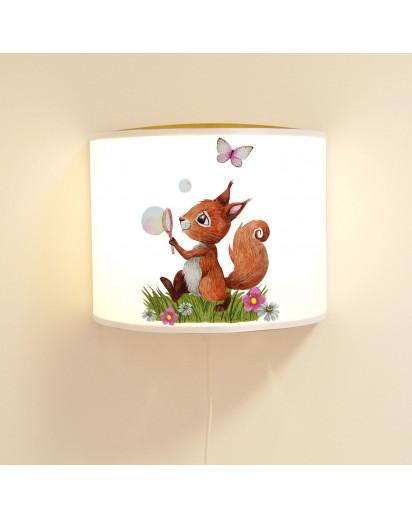 Wandlampe Kinderlampe mit süßen Eichhörnchen Seifenblase mit Schmetterling Lampe Motivlampe Leselampe Kinderzimmer ls131