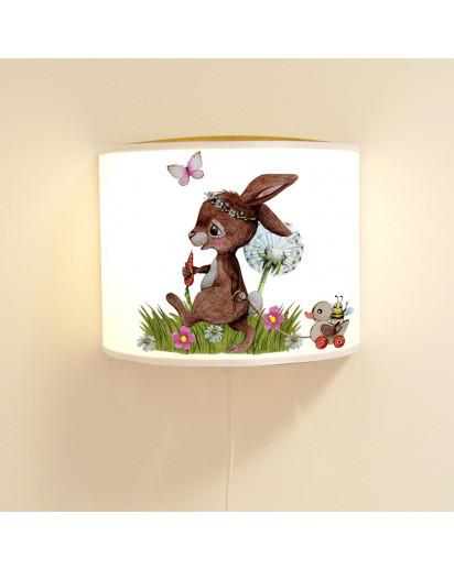 Wandlampe Kinderlampe mit süßen Hase Häschen hinterherzieh Tier Pusteblume Lampe Motivlampe Leselampe Kinderzimmer ls132