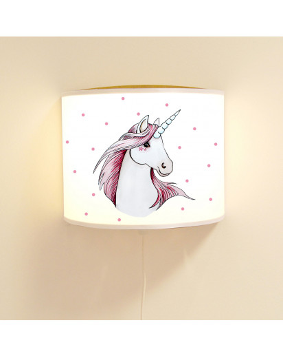 Wandlampe Kinderlampe mit süßen Einhorn Punkte Lampe Motivlampe Leselampe Kinderzimmer ls133