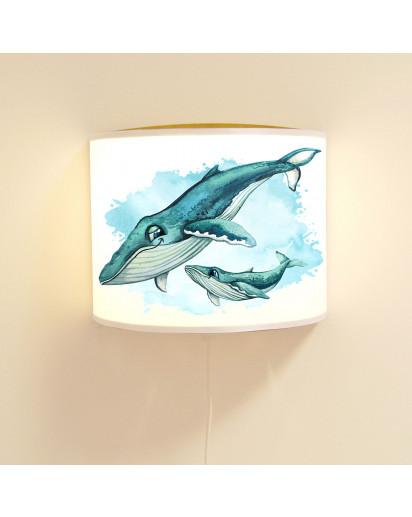 Wandlampe Kinderlampe mit süßen Wal & Jungtier Lampe Motivlampe Leselampe Kinderzimmer ls134