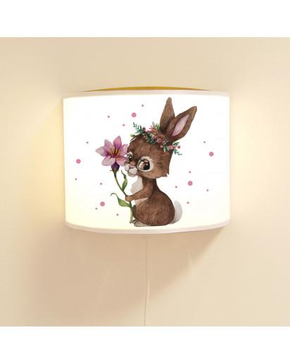 Wandlampe Kinderlampe mit süßen Hase Häschen mit Blume Lampe Motivlampe Leselampe Kinderzimmer ls135