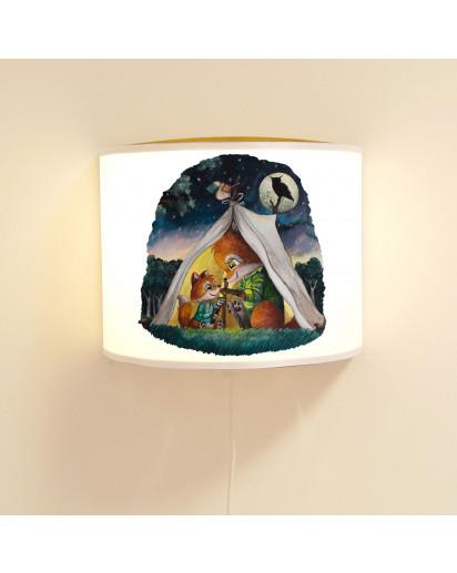 Wandlampe Kinderlampe mit Fuchs Fuchspapa und Junges im Zelt Lampe Motivlampe Leselampe Kinderzimmer ls136