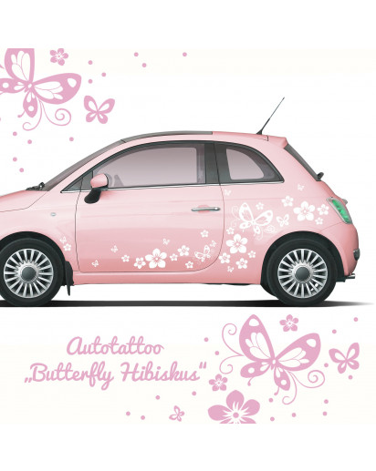 auto aufkleber hibiskus blumen mit schmetterlingen m1029. Black Bedroom Furniture Sets. Home Design Ideas