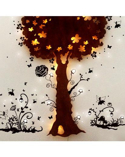 Hauptbild Schlummerlampe Nachtlampe Kinderlampe Wandlampe Zauberbaum mit Elfen und Feen wall lamp snooze light nightlight chidren lamp magic tree with elves and fairies M1264