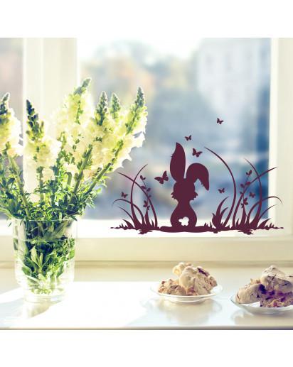 Fensterbild osterhase auf wiese mit schmetterlingen m1364f wandtattoos elfent r tassen - Osterhase fensterbild ...