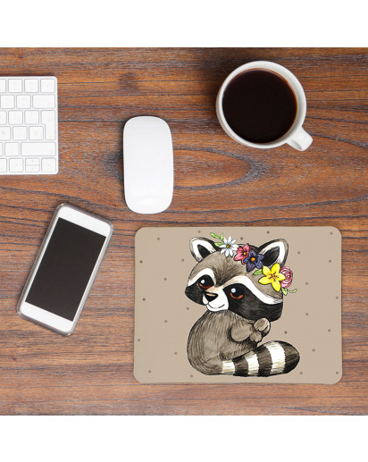 Mousepad Mouse Pad Mausunterlage kleiner Waschbär mit Punkten Mousepad mouse pad little raccoon racoon with dots mp18_H.jpg
