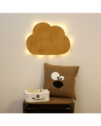 Wandlampe Kinderlampe Wolke Schlummerlampe Naturfarben gebeizt Wall lamp children lamp cloud nightlight natural colors stained M2034