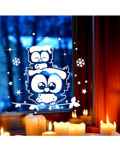 Fensterbild wandtattoo eulen eulchen auf zweig fensterdeko schneeflocken sterne und punkte m2251 - Fensterdeko zweig ...