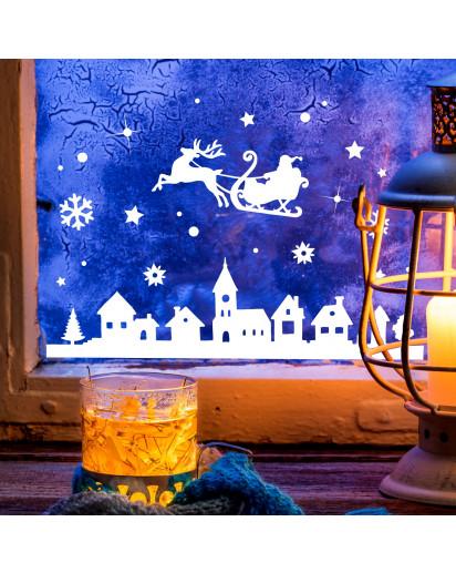 Fensterbild Weihnachtsmann an Weihnachten Winter Fensterdeko Fensterbilder Winterlandschaft + Sterne & Schneeflocken M2263