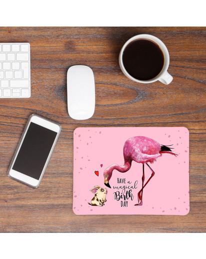 Mousepad Geburtstag mouse pad rosa Mausunterlage Flamingo & Schweinchen mit Spruch magical birthday mp39