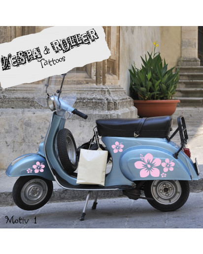 Moped Aufkleber Hibiskus