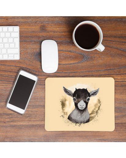 Mousepad mouse pad Mauspad mit süßen Ziege Zicklein Bock Mausunterlage bedruckt für den Schreibtisch mouse pads Tier m72