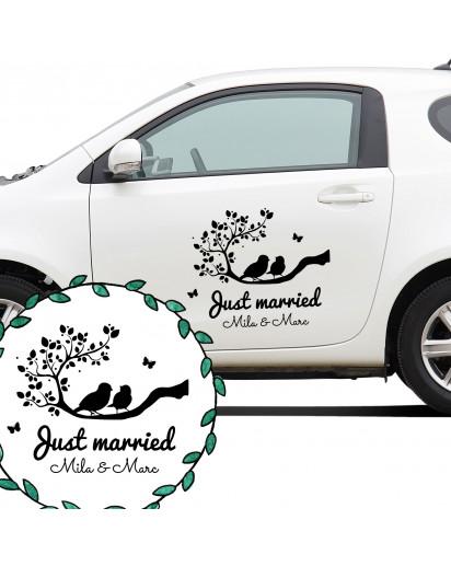 Autoaufkleber Autotattoo Hochzeit Vögel auf Zeig mit Spruch Just married mit Namen Car sticker car tattoo wedding with quote saying just married and desired names M2137_H.jpg