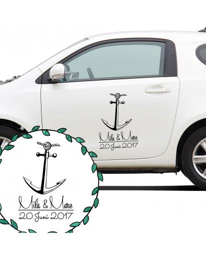 Autoaufkleber Autotattoo Hochzeit Maritim mit Anker Namen und Datum Car sticker car tattoo wedding with anchor desired names and wedding date M2138_H.jpg