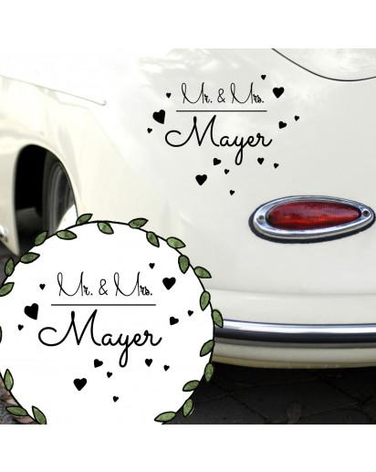 Autoaufkleber Autotattoo Hochzeit Trauung Vermählung Mr. & Mrs. mit Herzen und Namen Car sticker car tattoo wedding mr. and mrs. with hearts and desired name M2142_H.jpg