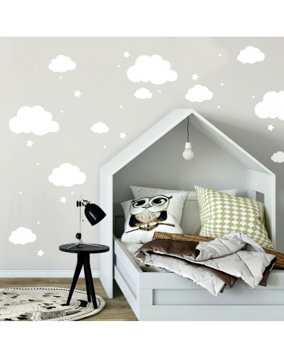 wandtattoo mit wolken sterne punkte in wei kinderzimmer wanddeko wandgestaltung m2334. Black Bedroom Furniture Sets. Home Design Ideas