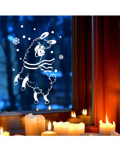 Fensterbild Alpaka Lama im Schnee Schneeflocken Punkte Winterlandschaft Fensterdeko Kinderzimmer M2404