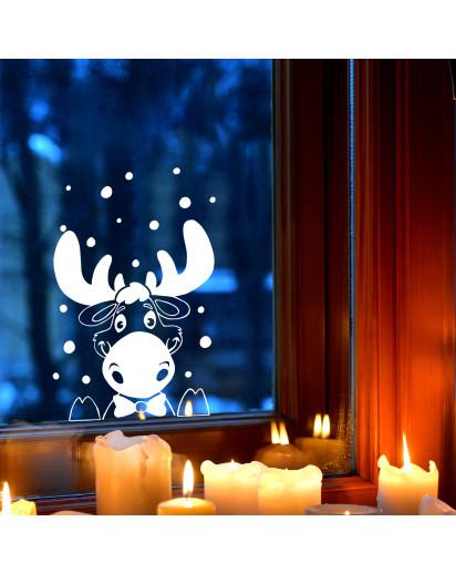 Fensterbild Elch Hirsch im Schnee Schneeflocken Punkte Winterlandschaft Fensterdeko Kinderzimmer M2405