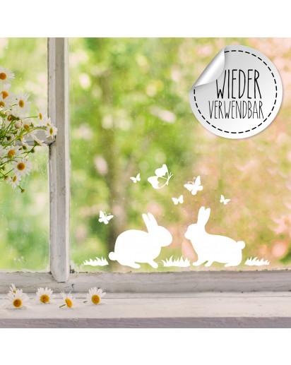 Fensterbild 2 Hasen Häschen Schmetterlinge wiederverwendbar Frühling Frühlingsdeko Ostern Osterdeko Fensterdeko Fensterbilder M2452
