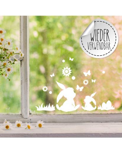 Fensterbild 2 Hasen Häschen sitzend Ostereier Schmetterlinge Blumen wiederverwendbar Frühling Frühlingsdeko Ostern Osterdeko Fensterdeko Fensterbilder M2453