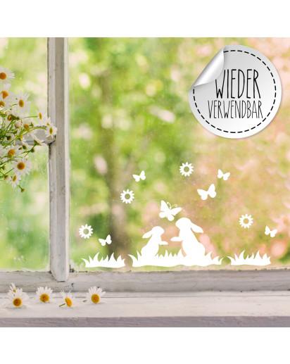 Fensterbild 2 Hasen Häschen im Gras Schmetterlinge wiederverwendbar Frühling Frühlingsdeko Ostern Osterdeko Fensterdeko Fensterbilder M2456