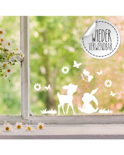 Fensterbild Reh Rehkitz Hase Häschen Schmetterlinge Blumen wiederverwendbar Frühling Frühlingsdeko Ostern Osterdeko Fensterdeko Fensterbilder M2457
