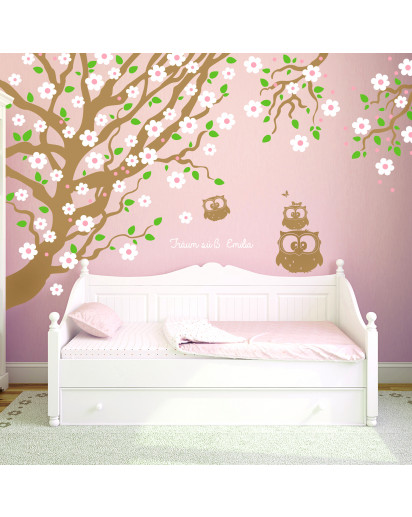 Wandtattoo Kirschbaum mit Eulen Kirschblüten und Spruch träum süß mit Wunschname Wandaufkleber Wandsticker Aufkleber Sticker vierfarbig wall decal cherry tree with owls cherry blossoms saying sweet dreams and custom name wall mural wall tattoo wall sticke