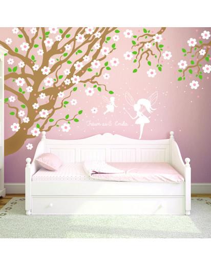 Wandtattoo Kirschbaum mit Eulen Kirschblüten Feen Spruch träum süß und Wunschname vierfarbig M1017