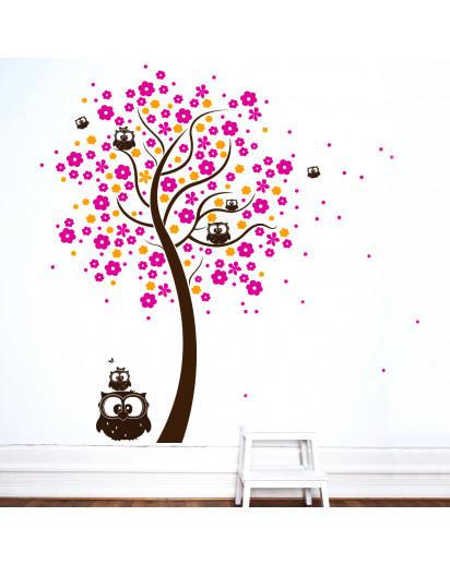 Wandtattoo Baum Eulenbaum mit Blüten dreifarbig M1030