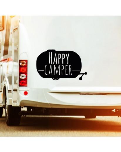 Autotattoo Heckscheibenaufkleber Wohnwagen Sticker mit Motto Spruch Happy Camper Autosticker M2378