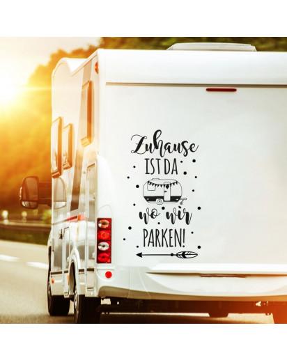 Autotattoo Heckscheibenaufkleber Wohnwagen Sticker mit Motto Spruch Zuhause ist wo wir parken Autosticker M2383
