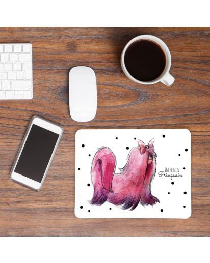 Mauspad Mousepad Mausunterlage rosa Hund mit Spruch Sprichwort im Herzen Prinzessin mp14
