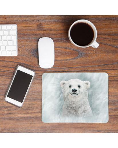 Mousepad mouse pad Mauspad mit Eisbär im Schneesturm Mausunterlage bedruckt für den Schreibtisch mouse pads Tier mp63