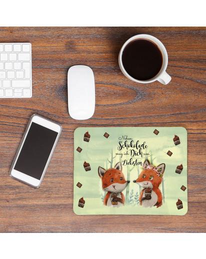 Mousepad mouse pad Mauspad mit Fuchs Pärchen Spruch Neben Schokolade mag ich Dich... Mausunterlage bedruckt mouse pads Tier mp75