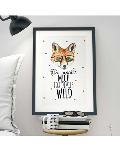A3 Print Illustration Poster Fuchs mit Punkten und Spruch du machst mich fox devils wild A3 Print illustration poster fox with dots and qoute you drive me fox devils wild p07