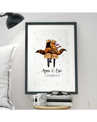 A3 Print Illustration Poster Waschbär Pärchen just married mit Wunschnamen und Hochzeitsdatum A3 Print illustration poster fox with raccoons couple just married with custom names and wedding date p08