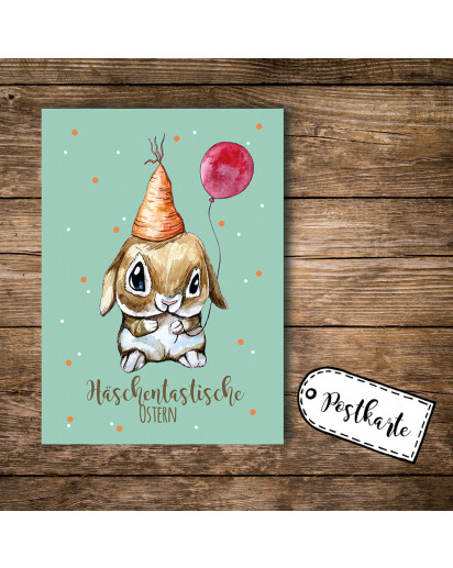 A6 Postkarte Osterkarte Print Hase Osterhase mit Luftballon und Spruch Häschentastische Ostern A6 postcard print easter card bunny rabbit with balloon and quote saying bunnytastic eastern pk102_H.jpg
