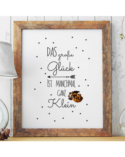 "A3 Print Illustration Poster Plakat Waschbär Baby mit Spruch ""das große Glück ist manchmal ganz klein"" A3 Print illustration poster raccoon baby with saying ""the great fortune is sometimes quite small"" p25"