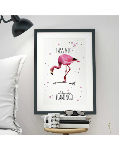 "A3 Print Illustration Poster Plakat Vogel Flamingo mit Spruch ""lass mich..."" A3 Print illustration poster print bird flamingo with qoute ""leave me..."" p30"
