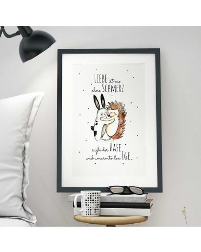 "A3 Print Illustration Poster Plakat Hase und Igel mit Spruch ""Liebe ist nie ohne Schmerz..."" A3 Print illustration poster rabbit and hedgehog with saying ""love is never without pain..."" p31"