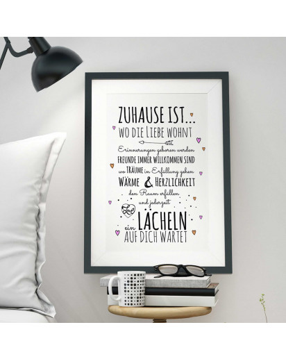 "A3 Print Illustration Poster Plakat Spruch ""Zuhause ist..."" Hausordnung mit Herzen A3 Print illustration poster saying ""home is..."" house rules with hearts p33"