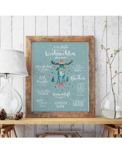 A3 Print Illustration Poster Plakat Druck Bilderdruck magische Weihnachten mit Rentier und To-Do Liste Spruch Sprüche A3 Print illustration poster magical christmas with rendear and to do list sayings quotes p48