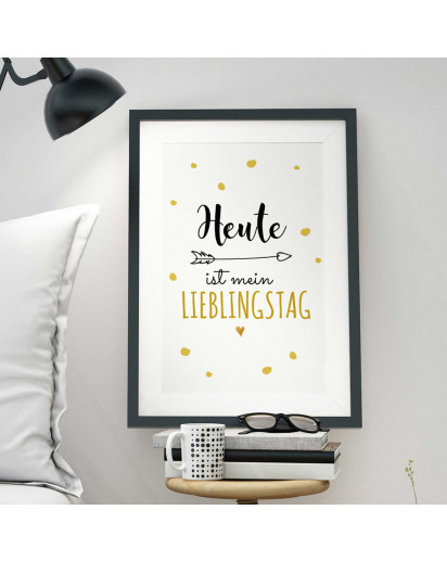 A3 Print Illustration Poster Plakat mit Punkten und Spruch heute ist mein Lieblingstag A3 Print illustration poster with dots and saying today is my favorite day p50